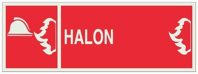 Brady Polyester Polystyrene BradyGlo Warning Sign: HALON Red on luminous;