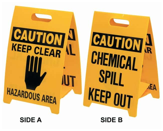 Brady Polypropylene Caution Floor stand: CHEMICAL SPILL KEEP OUT Black