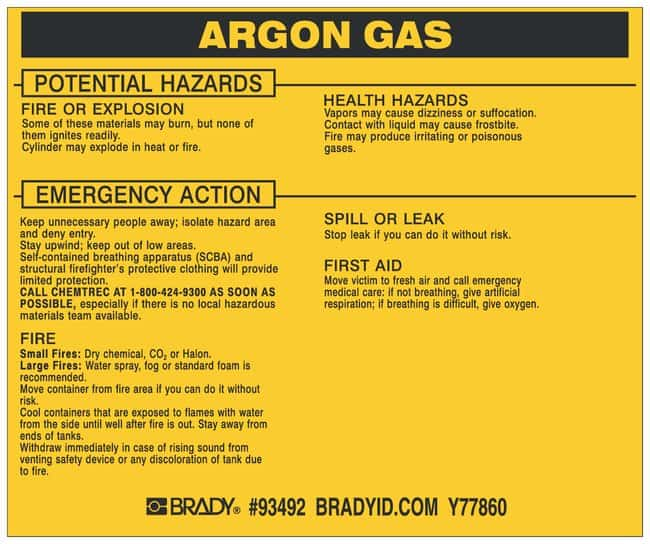 Brady Hazardous Material Label: ARGON GAS Legend: ARGON GAS:Gloves, Glasses
