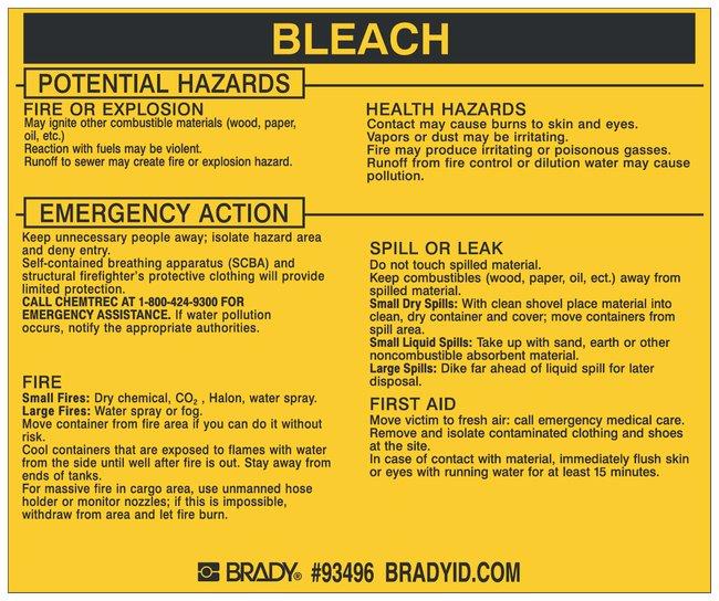 Brady Hazardous Material Label: BLEACH Legend: BLEACH:Gloves, Glasses and