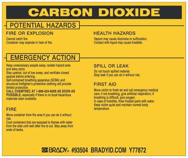Brady Hazardous Material Label: CARBON DIOXIDE Legend: CARBON DIOXIDE:Gloves,