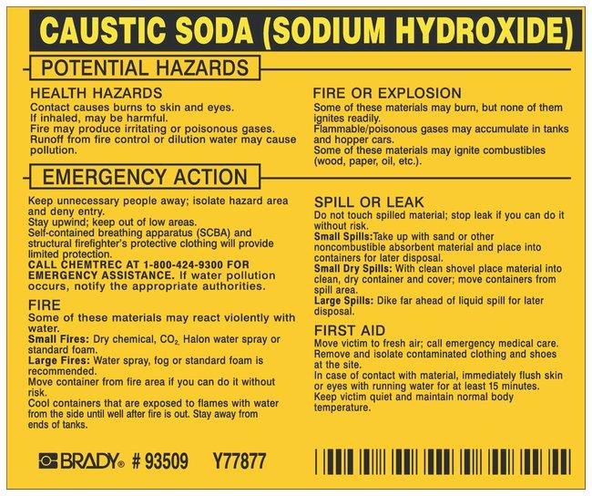 Brady Hazardous Material Label: CAUSTIC SODA (SODIUM HYDROXIDE) Legend: