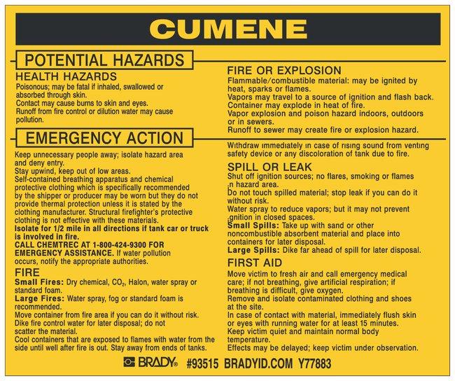 Brady Hazardous Material Label: CUMENE Legend: CUMENE:Gloves, Glasses and