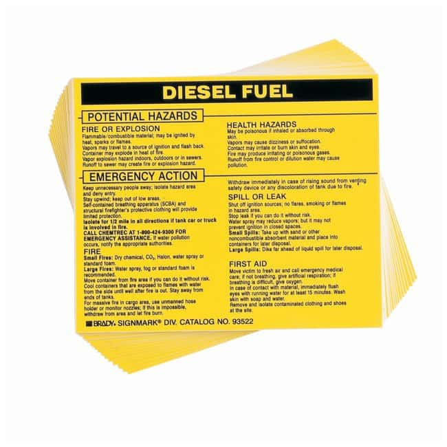 Brady Hazardous Material Label: DIESEL FUEL Legend: DIESEL FUEL:Gloves,