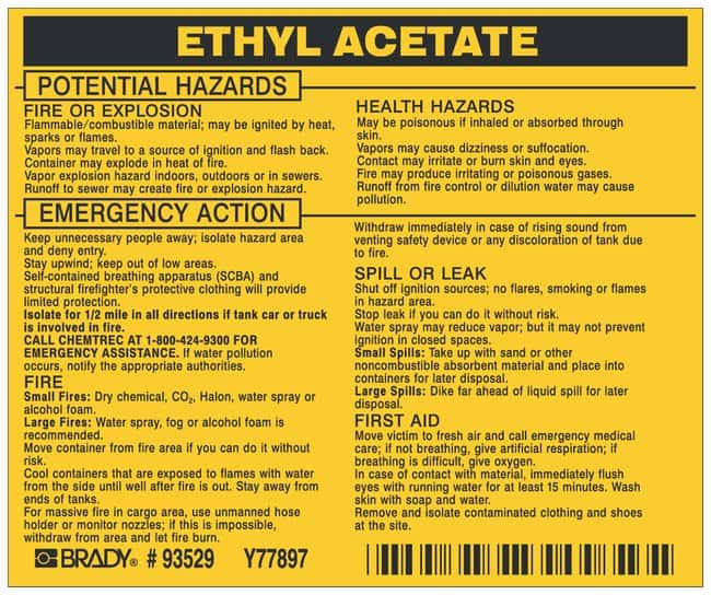 Brady Hazardous Material Label: ETHYL ACETATE Legend: ETHYL ACETATE:Gloves,