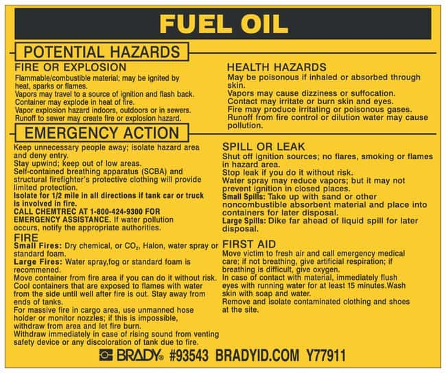 Brady Hazardous Material Label: FUEL OIL Legend: FUEL OIL:Gloves, Glasses