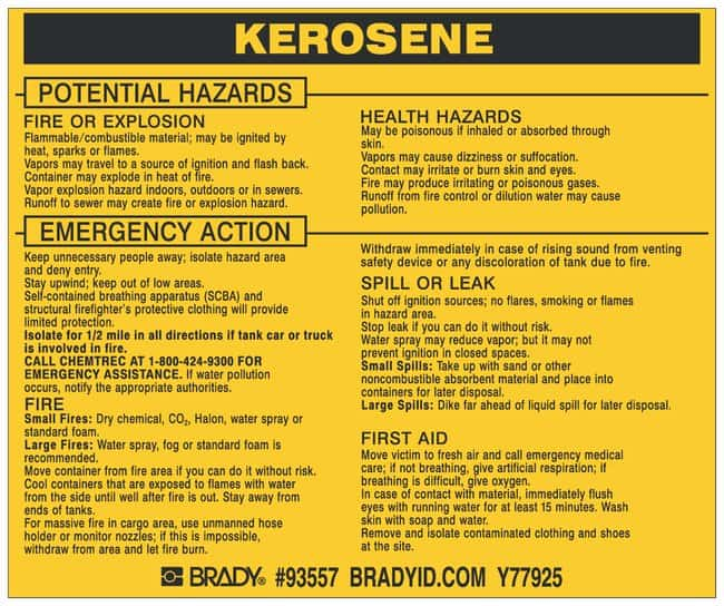 Brady Hazardous Material Label: KEROSENE Legend: KEROSENE:Gloves, Glasses