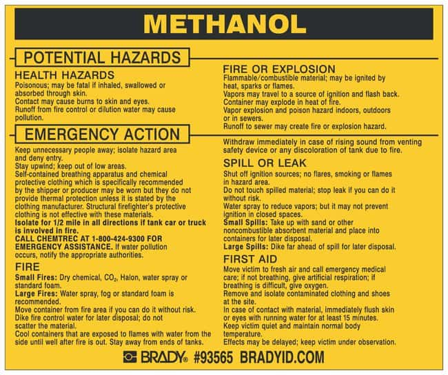 Brady Hazardous Material Label: METHANOL Legend: METHANOL:Gloves, Glasses