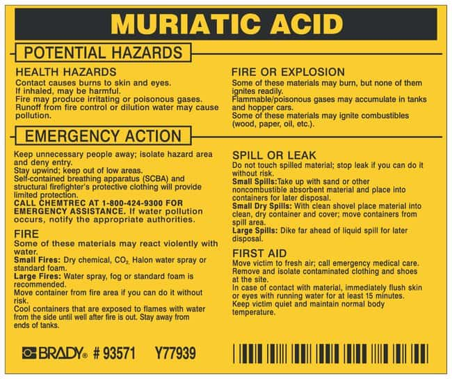 Brady Hazardous Material Label: MURIATIC ACID Legend: MURIATIC ACID:Gloves,