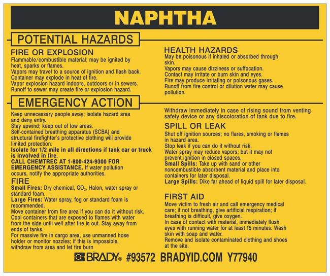 Brady Hazardous Material Label: NAPHTHA Legend: NAPHTHA:Gloves, Glasses