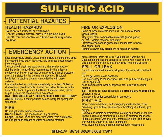 Brady Hazardous Material Label: SULFURIC ACID Legend: SULFURIC ACID:Gloves,