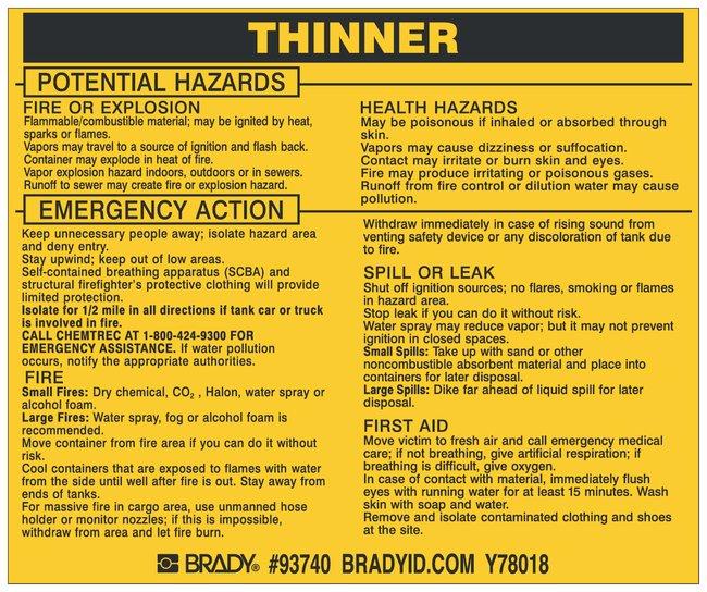 Brady Hazardous Material Label: THINNER Legend: THINNER:Gloves, Glasses
