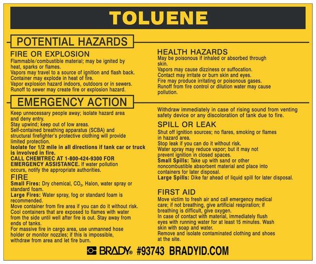 Brady Hazardous Material Label: TOLUENE Legend: TOLUENE:Gloves, Glasses