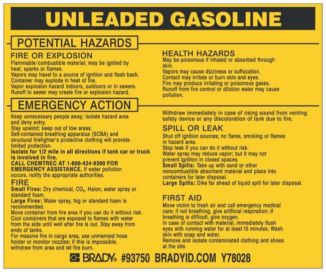 Brady Hazardous Material Label: UNLEADED GASOLINE Legend: UNLEADED GASOLINE:Gloves,