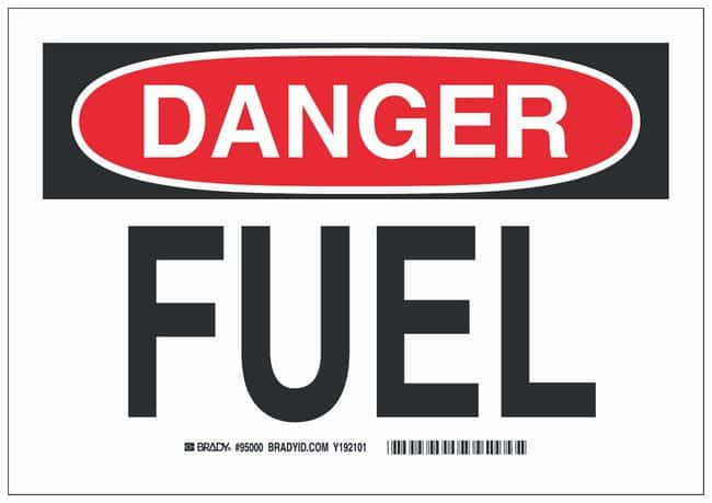 Brady Aluminum Danger Sign: FUEL Black/red on white; Non-adhesive; Corner