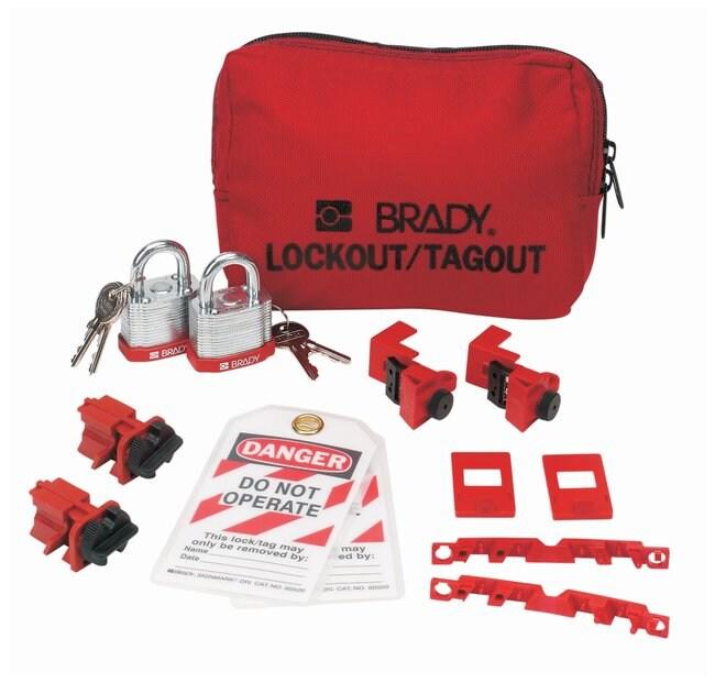 Brady 120/277V Breaker Lockout Pouch with Brady Steel Padlocks & Tags 120/277V