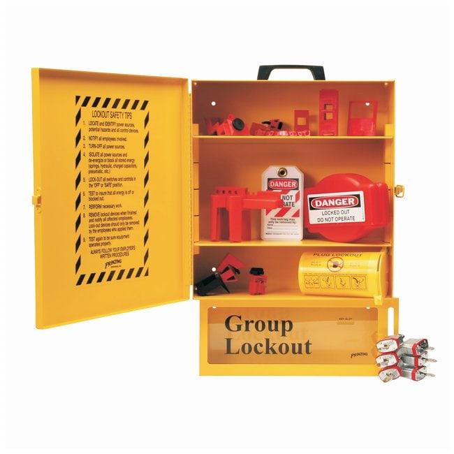 Brady Combined Lockout & Lock Box Station With Components, 6 Brady Steel