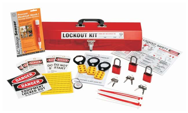 Brady Lockout Tagout Kit, Option #3 Mechanical risk lockouts; Powder-coated