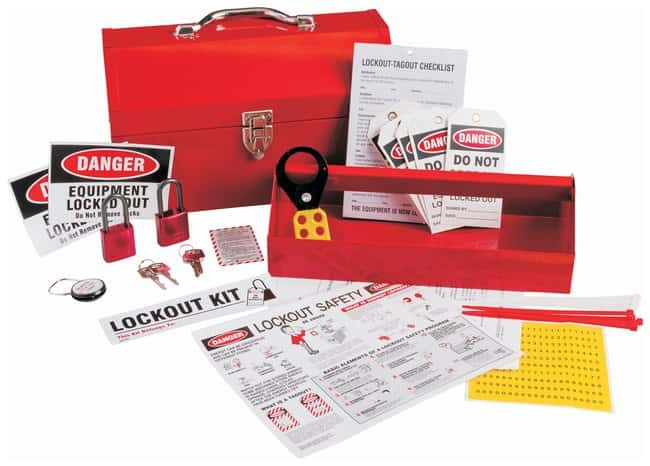 Brady Lockout Kit, Color-Code Red Electrical risk lockouts; Powder-coated
