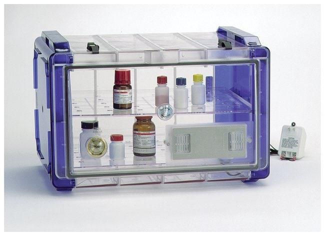 Bel-Art™SP Scienceware™ Secador™ Standard Desiccator Cabinets: Horizontal Models Model 4.0 horizontal; Two shelves; Clear w/Blue End Caps Bel-Art™SP Scienceware™ Secador™ Standard Desiccator Cabinets: Horizontal Models