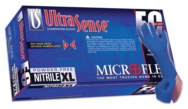 Microflex UltraSense EC Extended Cuff Powder-Free Nitrile Exam Gloves Size: