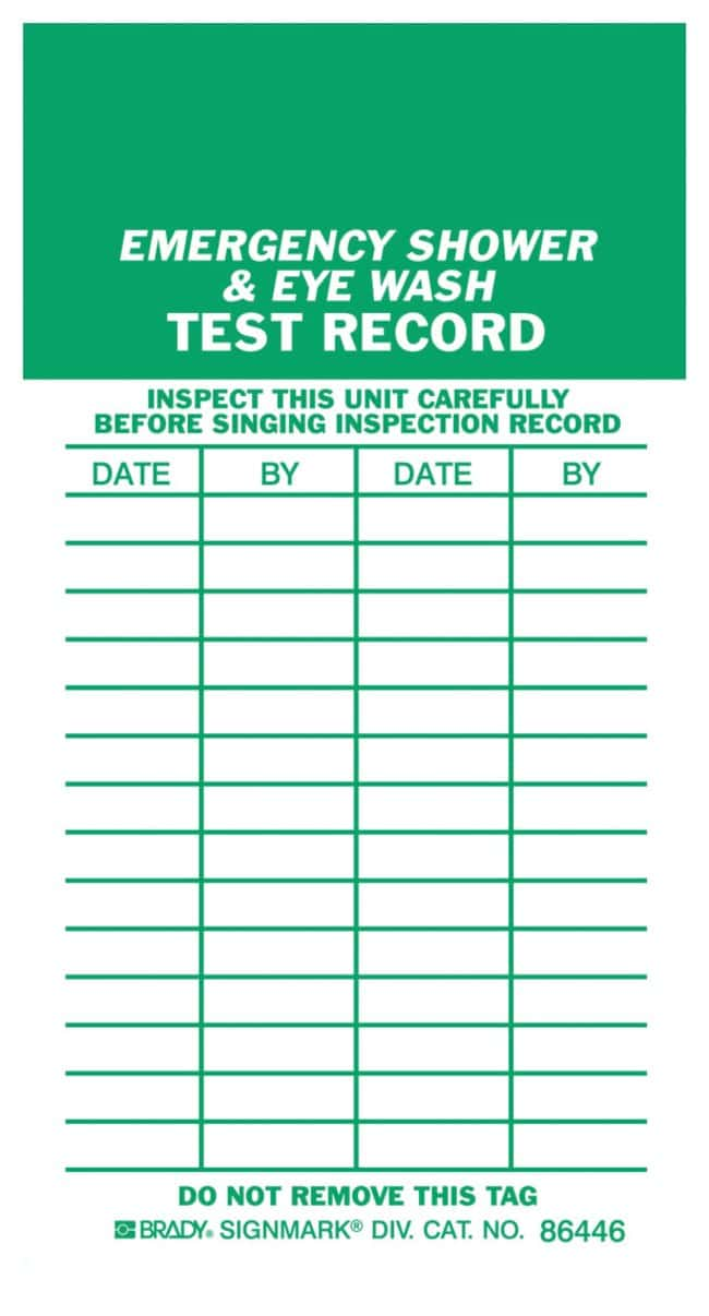 brady emergency shower eyewash inspection tag and test record heavy duty. Black Bedroom Furniture Sets. Home Design Ideas