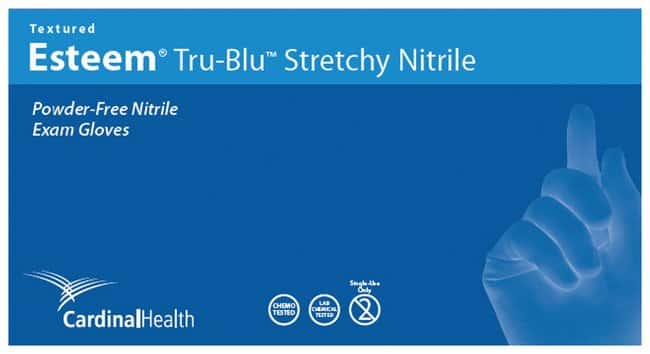 Cardinal Health Esteem Stretchy TRU-BLU Powder-Free Nitrile Exam Gloves
