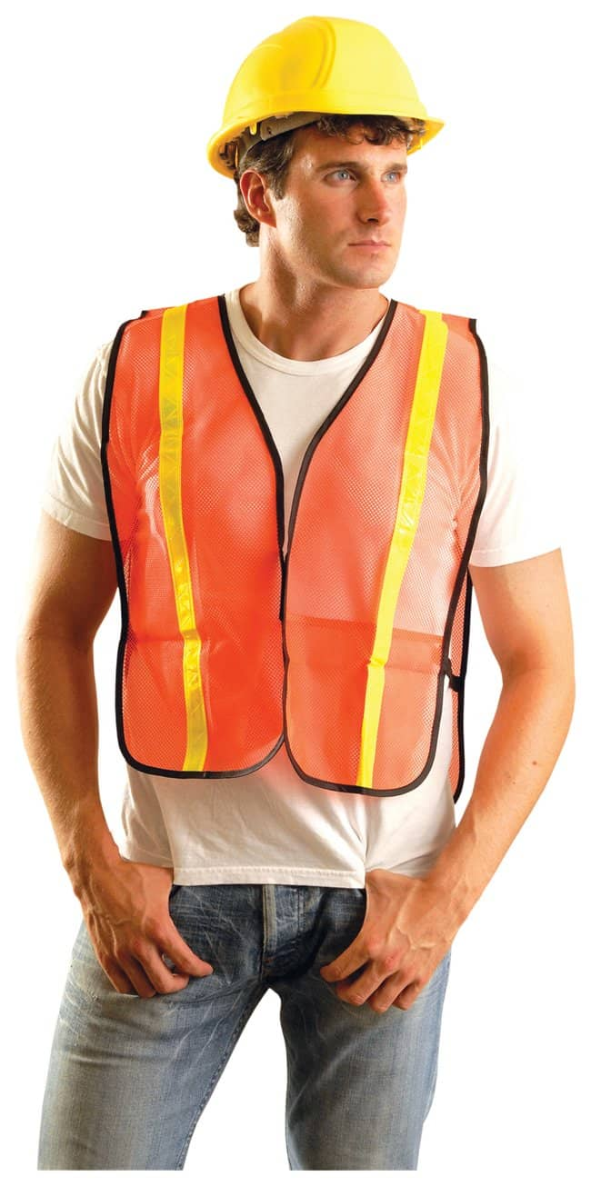 OccuNomix High-Vis Vests Yellow stripes on orange fabric; Size: X-Large:Gloves,