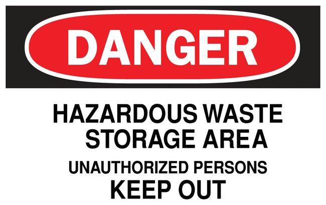 Brady Danger Hazardous Waste Storage Area Sign Aluminum; W x H: 35.5 x