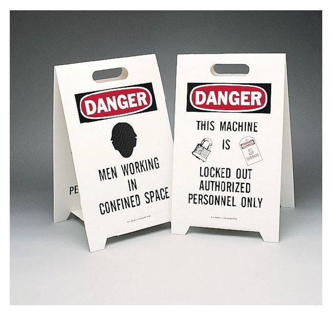 Brady Reversible Floor Signs Danger Men Working in Confined Space / Danger