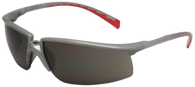 3M Privo Safety Eyewear Silver frame; Red temple; Gray lens; Antifog:Gloves,