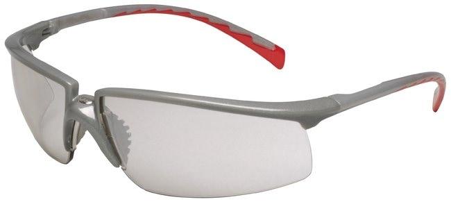3M Privo Safety Eyewear Silver frame; Red temple; I/O mirror lens:Gloves,