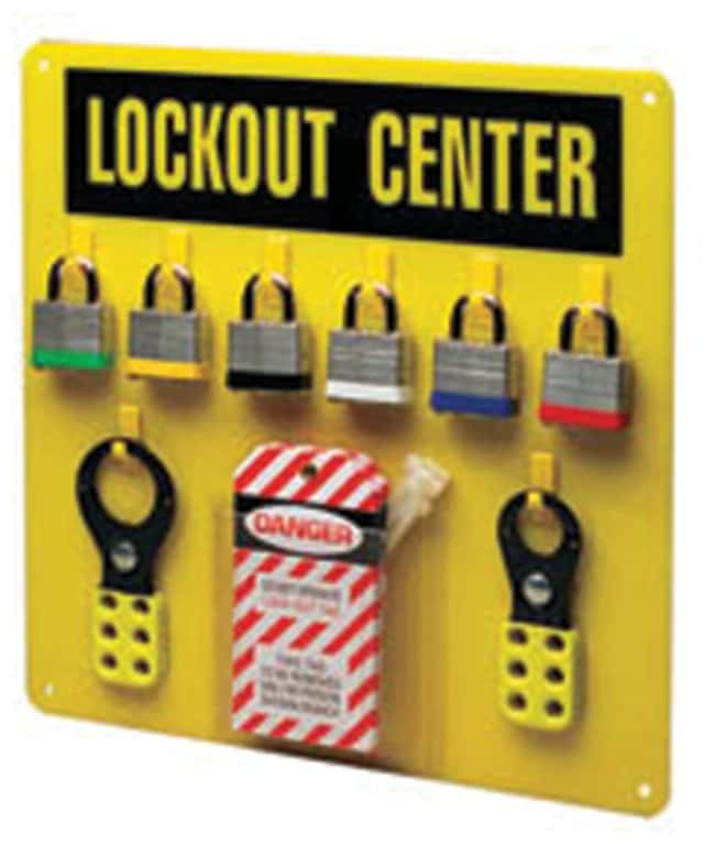 Brady Economy Lockout Center, Yellow Acrylic; 14 in. x 14 in.:Gloves, Glasses