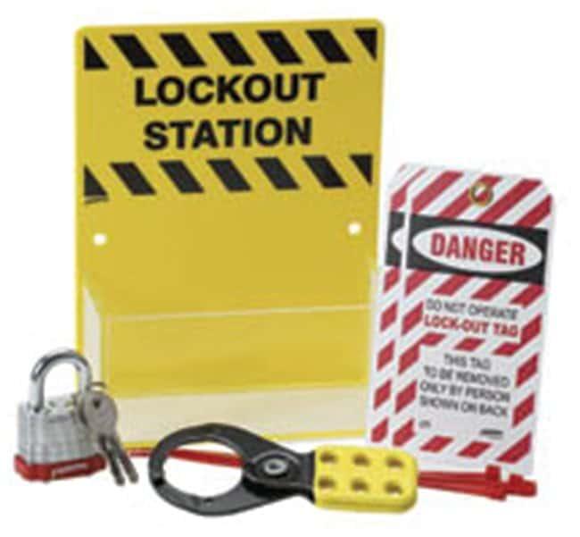 Brady Microlockout Station Black on yellow; 1/Kit:Gloves, Glasses and Safety