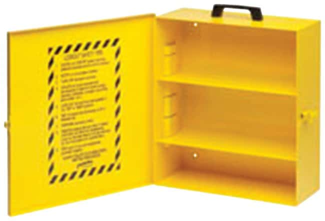 Brady Metal Lockout Cabinet, Yellow Cabinet with carrying handle; Powder-coated