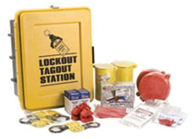 Brady Lockout Tagout Station, Equipped Black on yellow; 1/Kit; 9.5 in.
