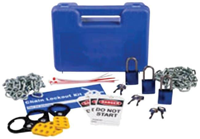 Brady Lockout Kit, Blue Chain; lockout; Blue; 1/Kit:Gloves, Glasses and