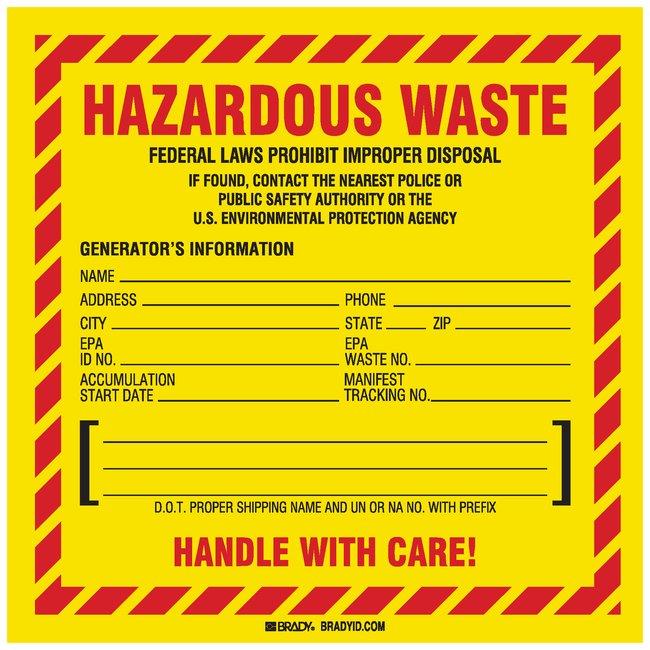 BradyHazardous Waste Federal Law Prohibits Improper Disposal...etc Sign:Facility