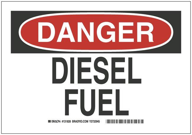 Brady Chemical and Hazardous Materials Signs: Diesel Fuel DANGER - DIESEL