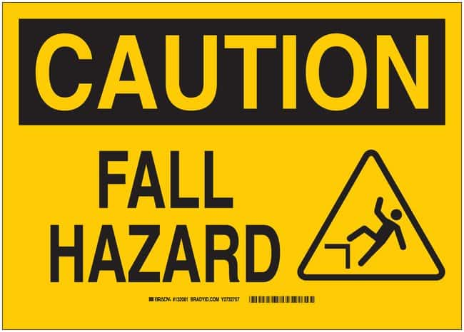 Brady Aluminum Sign: FALL HAZARD:Gloves, Glasses and Safety:Facility Maintenance