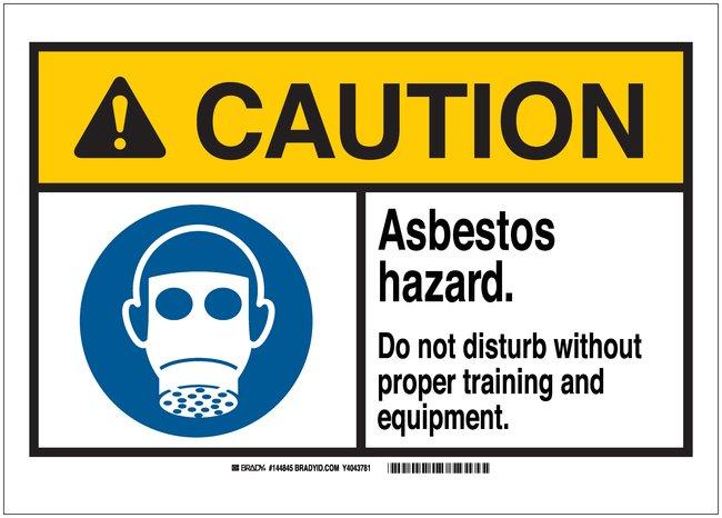 Brady Signs: CAUTION: ASBESTOS HAZARD DO NOT DISTURB WITHOUT PROPER TRAINING