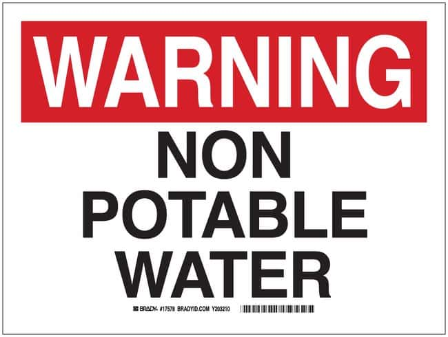Brady Polyester Warning Sign: NON-POTABLE WATER Black/red on white; 12