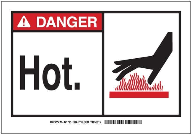 BradySigns: DANGER: HOT (W/PICTO) Aluminum; H x W: 7 in. x 10 in.; Black/Red