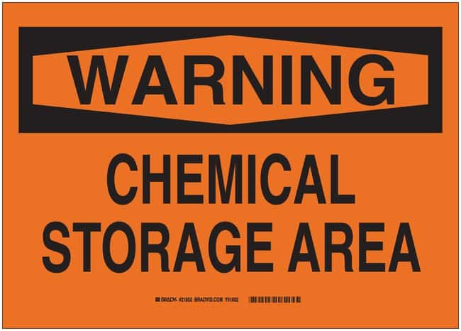 Brady Polystyrene Warning Sign: CHEMICAL STORAGE AREA Black on orange;