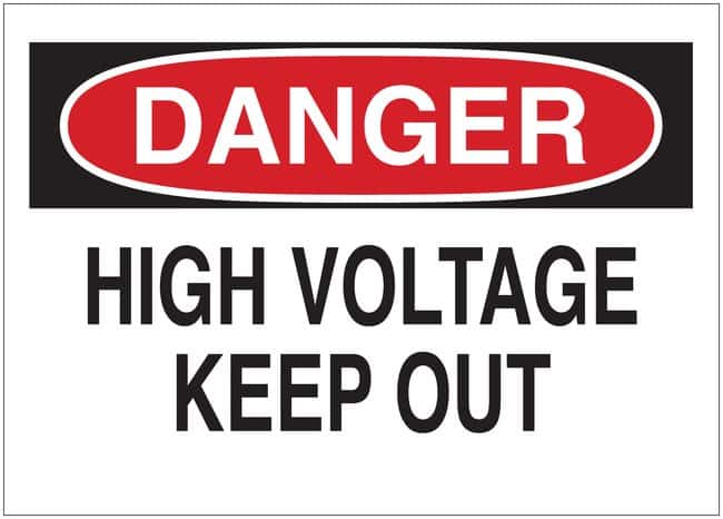 Brady Admittance Sign: DANGER - HIGH VOLTAGE KEEP OUT Self sticking polyester;