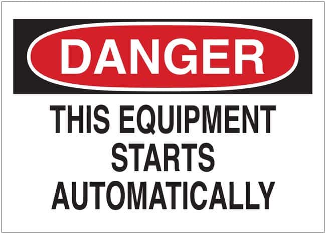 Brady Danger: This Equipment Starts Automatically Signs  Material: Self-Sticking