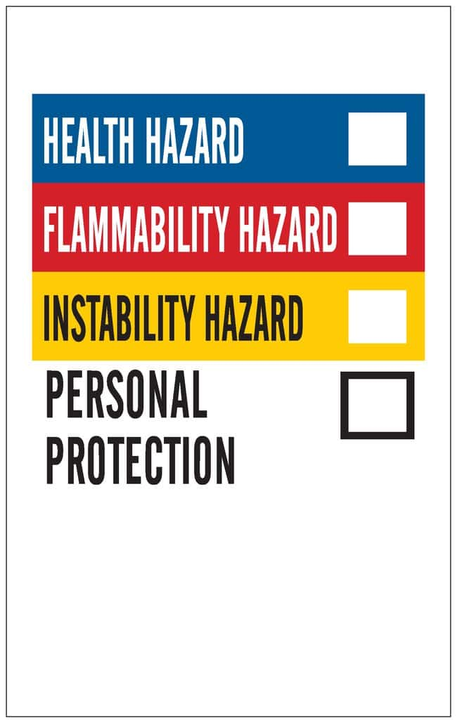 Brady Write On Right-To-Know Laboratory Labels, Paper Material: Paper:Gloves,