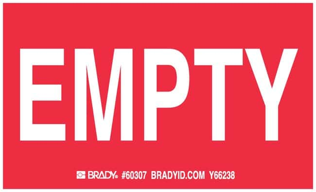 Brady Gas Cylinder Label, Legend: EMPTY Legend: EMPTY:Gloves, Glasses and