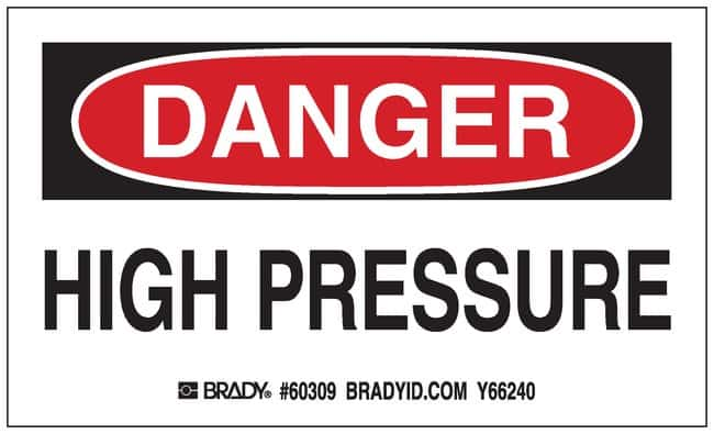 Brady Gas Cylinder Label, Header: DANGER, Legend: HIGH PRESSURE Header: