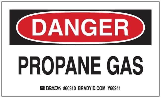 Brady Gas Cylinder Label, Header: DANGER, Legend: PROPANE GAS Header: DANGER,